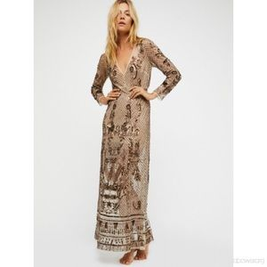 Free People embellished mesh gown